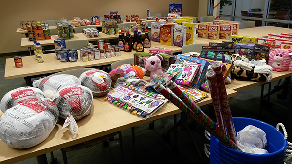 Food and Gifts donated to brighten the holiday for local families